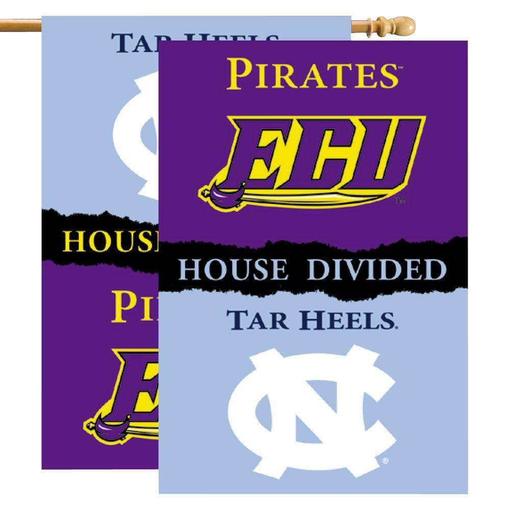 BSI Products NCAA 28 in. x 40 in. East Carolina/North Carolina Rivalry House Divided Flag