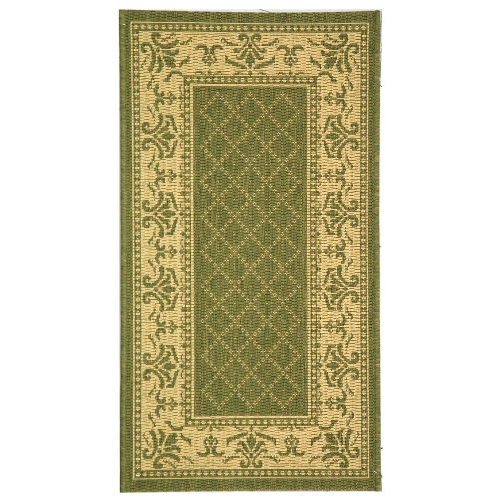 Safavieh Indoor/Outdoor Area Rug: Safavieh Rugs Courtyard Olive/Natural 5 ft. 3 in. x 7 ft. 7 in., Olive / Natural CY0901-1E06-5