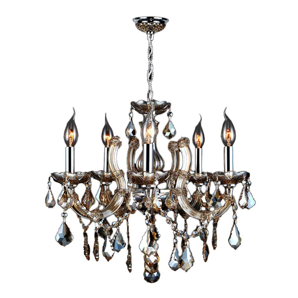 Worldwide Lighting Catherine 5-Light Polished Chrome Chandelier with Golden Teak