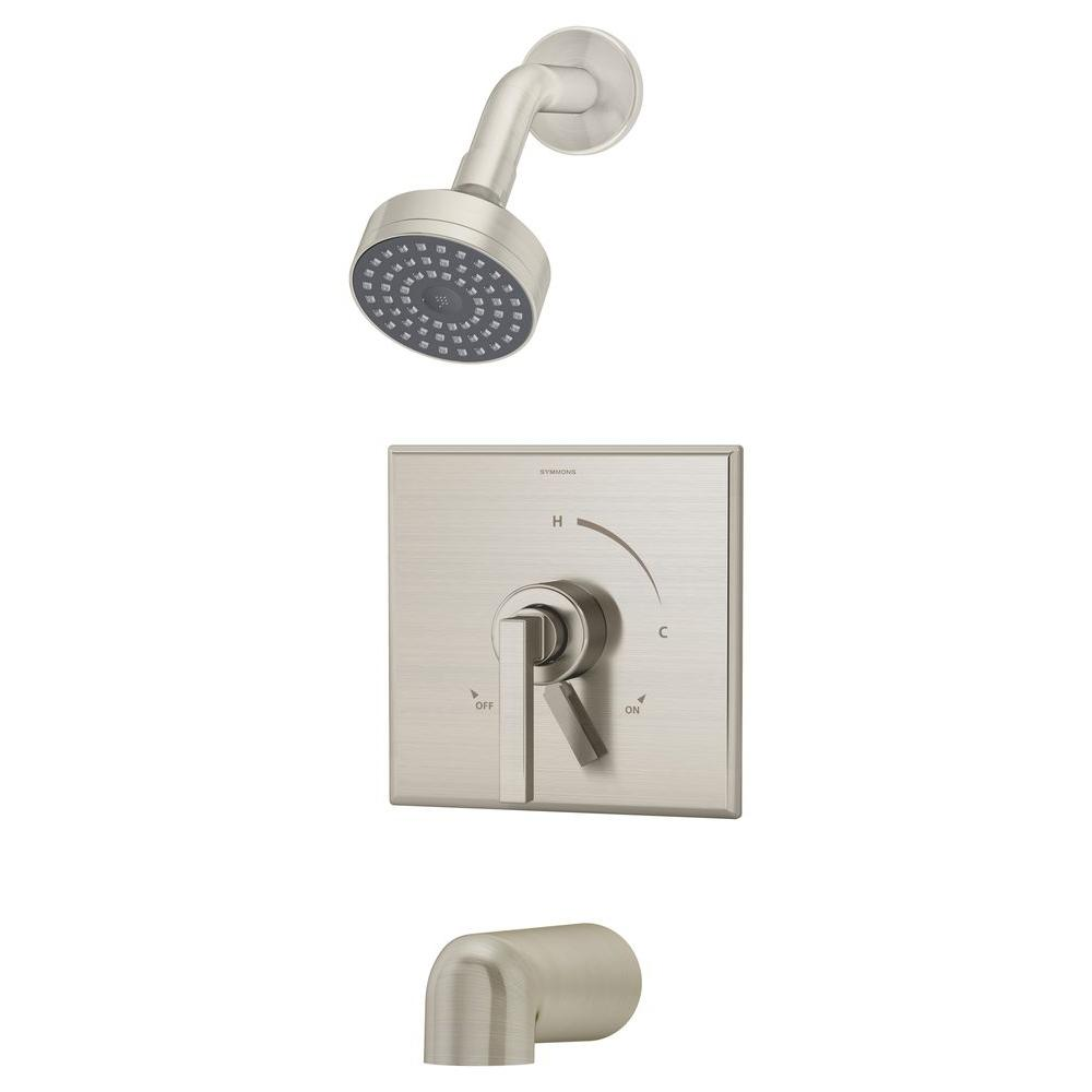 Duro 1-Handle 1-Spray Tub and Shower Faucet in Satin Nickel