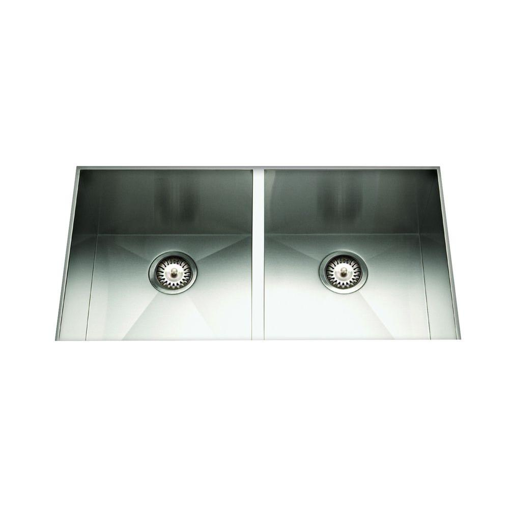 Cantrio Undermount Stainless Steel 29 in. 50/50 Double Basin Kitchen Sink