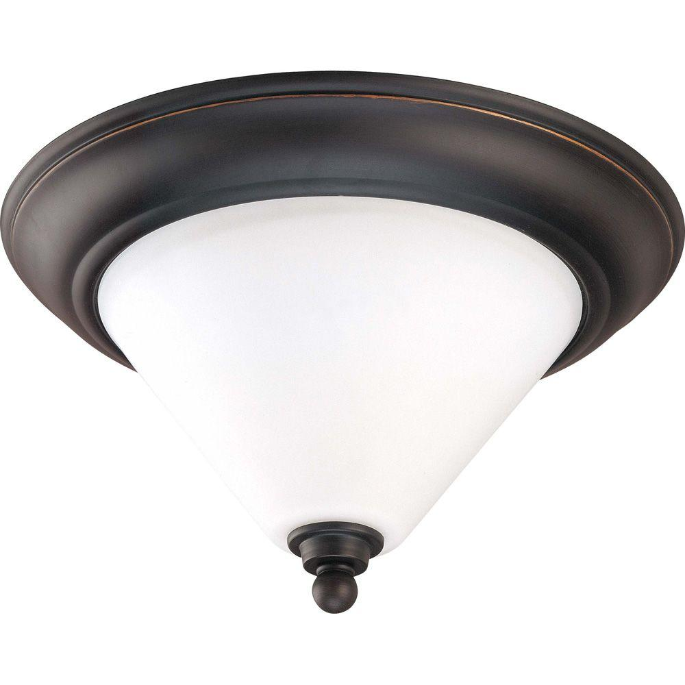 Glomar 2-Light Mission Dust Bronze Flush Dome with Satin White Glass-HD-1705