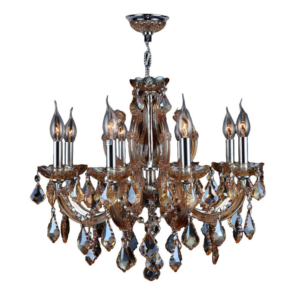 Catherine Collection 6-Light Polished Chrome and Amber Orange Crystal Chandelier