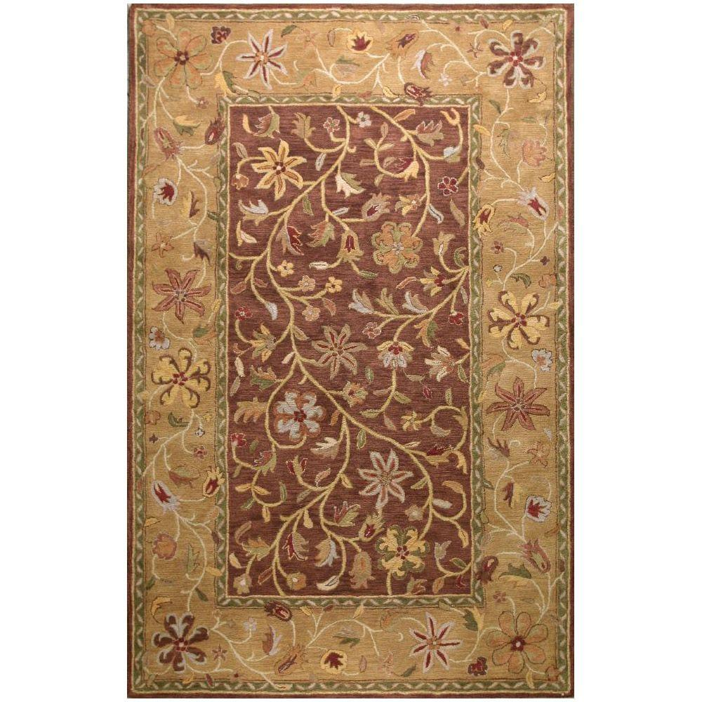 BASHIAN Wilshire Collection Garland Chocolate 5 ft. 6 in. x 8 ft. 6 in. Area Rug