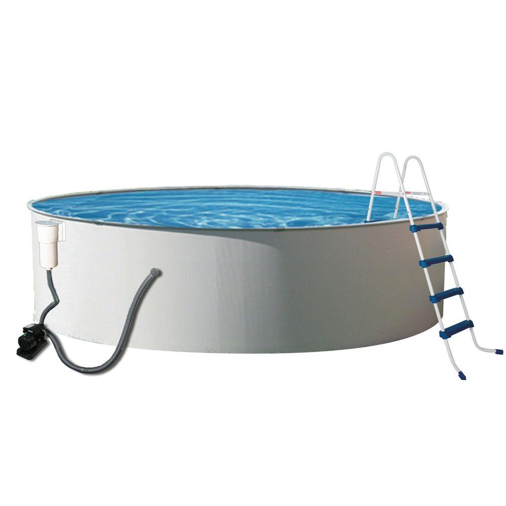 Blue Wave Presto 18 ft. Round 52 in. Deep Metal Wall Swimming Pool Package