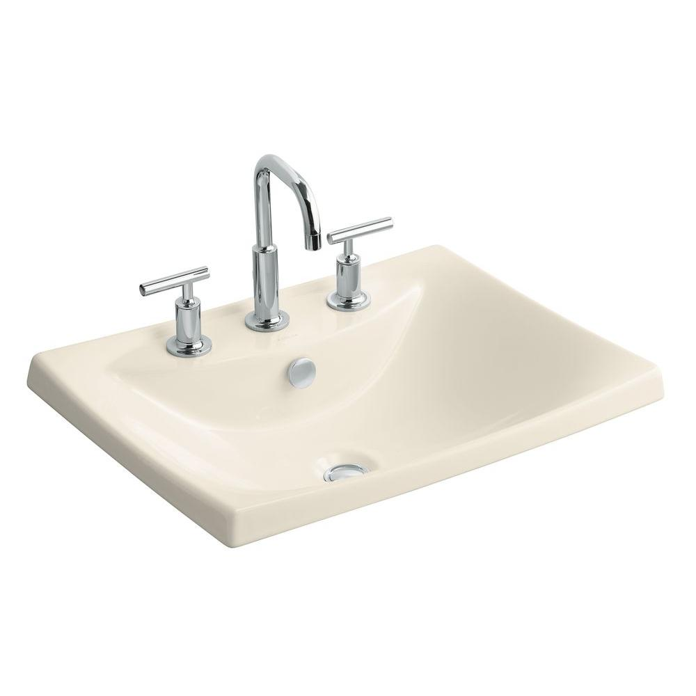 Escale Drop-In Fireclay Bathroom Sink in Almond with Overflow Drain