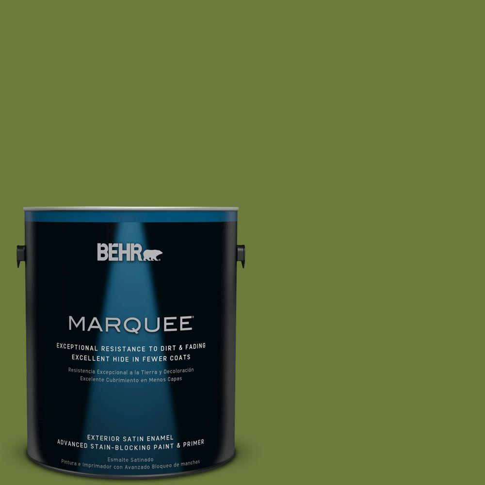BEHR MARQUEE 1 gal. #HDC-SM16-11 Hot Dog Relish Satin Enamel Exterior