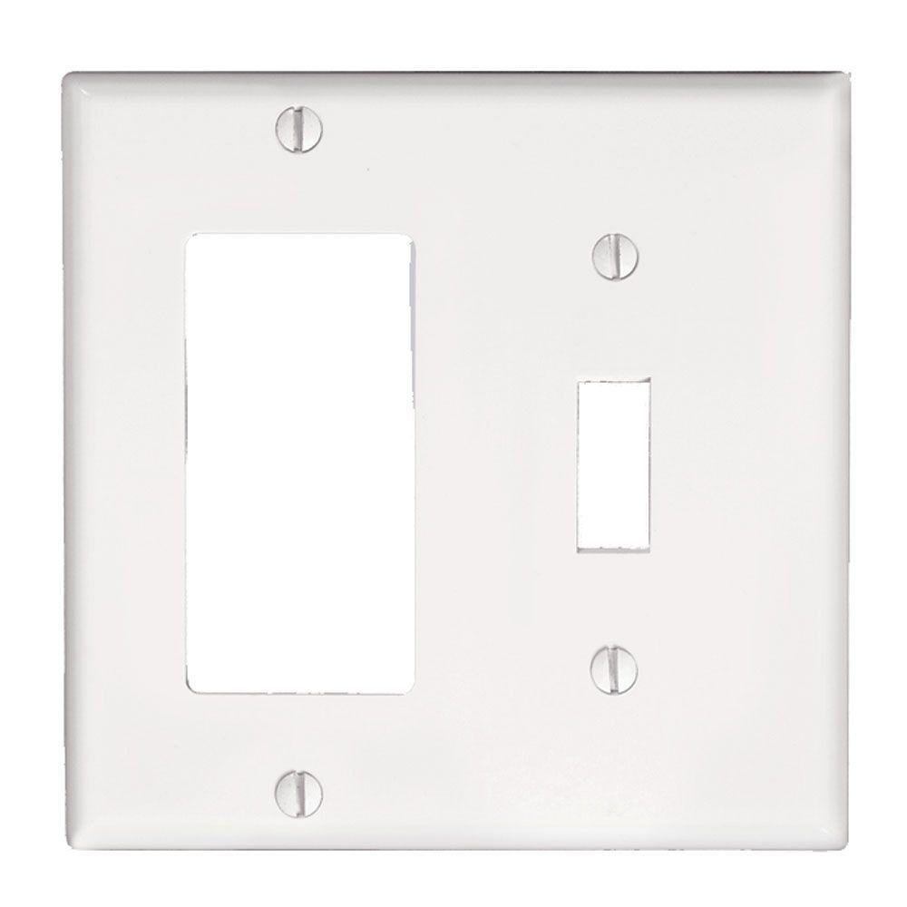 Decora 2-Gang 1-Toggle Combination Wall Plate, White