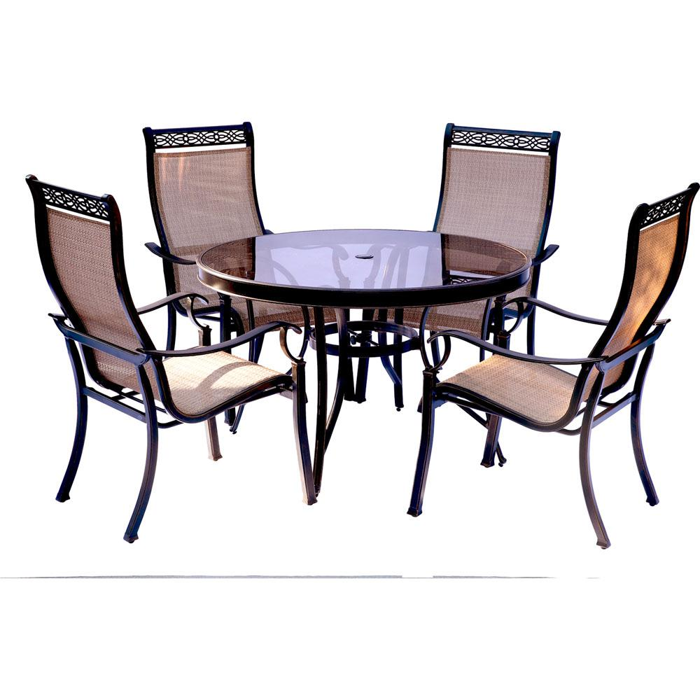 Hanover monaco 5 piece aluminum outdoor dining set with for Glass top patio dining table