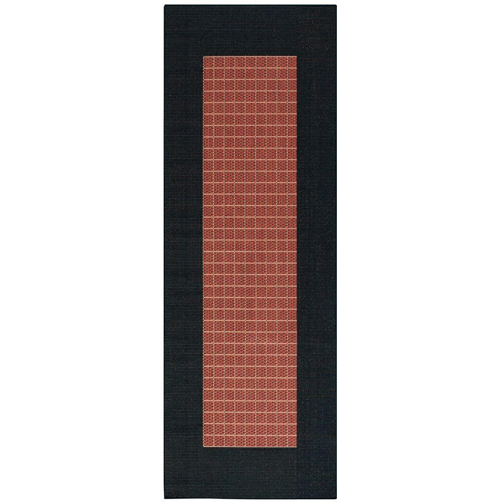 Home Decorators Collection Checkered Field Terracotta 2 ft. 3 in. x 11 ft. 9 in. Rug Runner