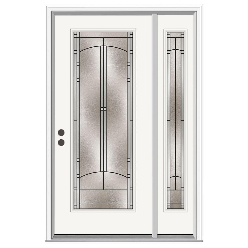 JELD-WEN 52 in. x 80 in. Full Lite Idlewild Primed Steel Prehung Right-Hand Inswing Front Door with Right-Hand Sidelite