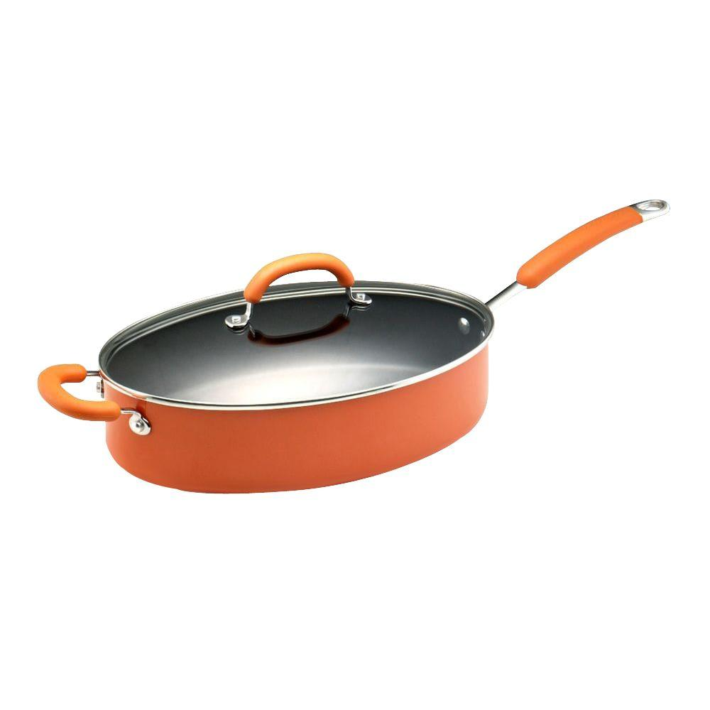 Rachael Ray 5 qt. Nonstick Porcelain Enamel Covered Oval Saute Pan in Orange