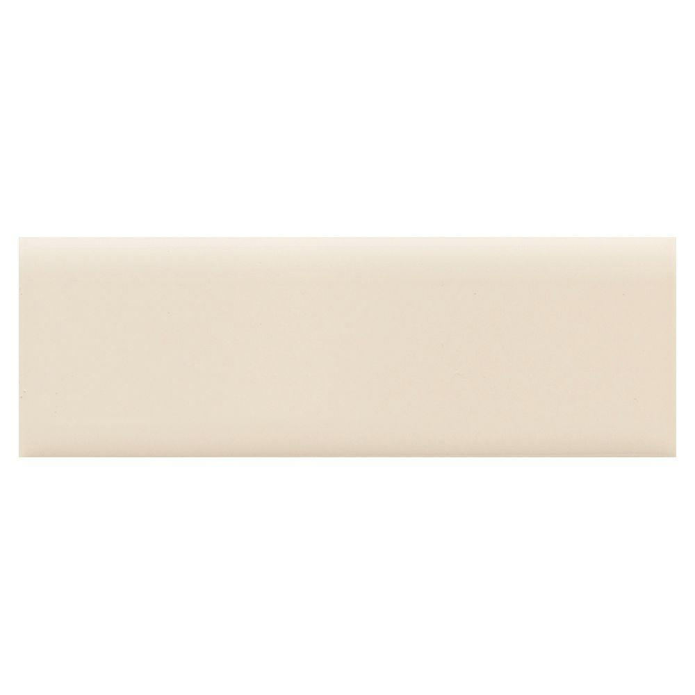 Semi-Gloss Almond 2 in. x 6 in. Ceramic Bullnose Wall Tile