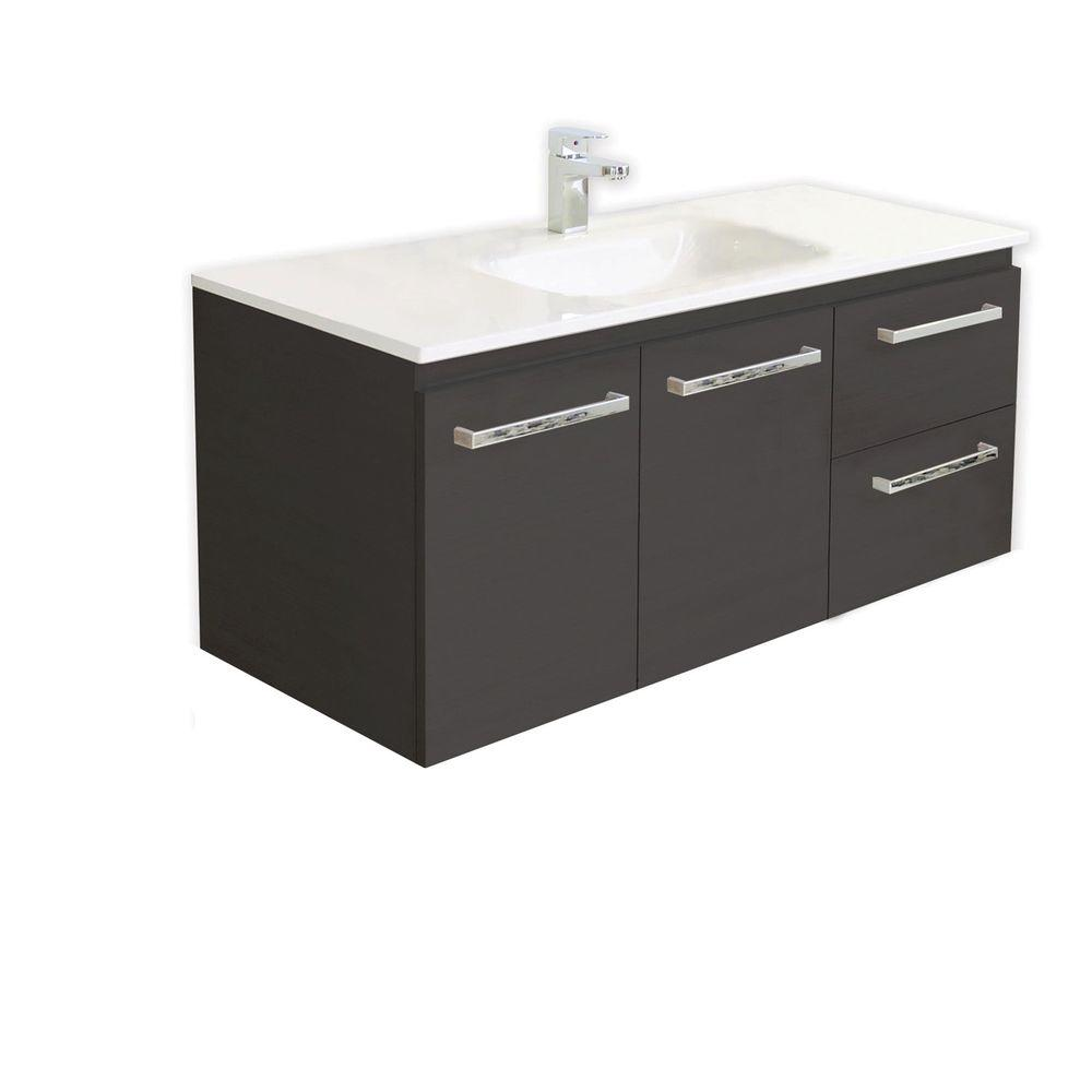 Architectural Designer Products Pamela Collection 1200 47-1/4 in. Vanity in Espresso with Poly-Marble Vanity Top in White-DISCONTINUED
