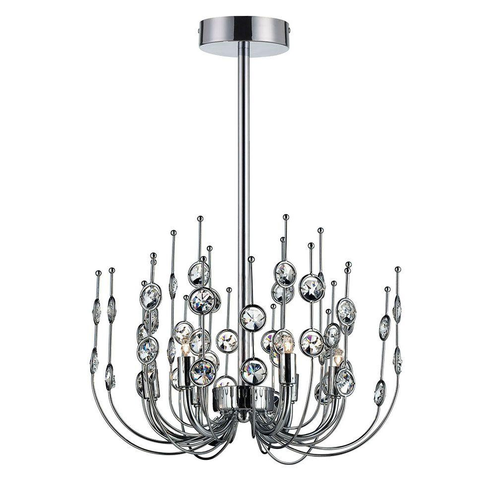 Eurofase Vice Collection 6-Light Chrome and Clear Chandelier