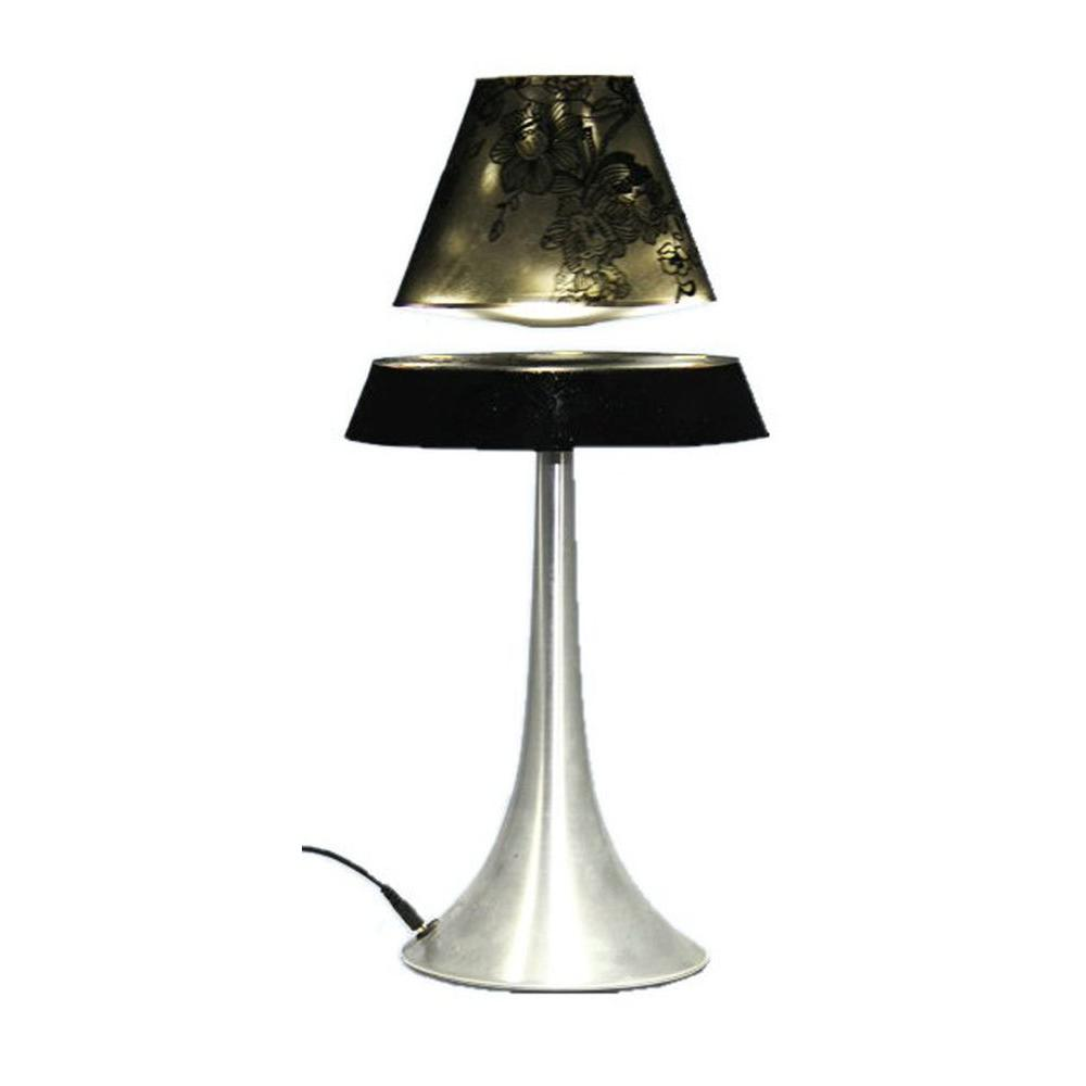 All The Rages 16.5 in. Brushed Chrome Touch Control Hover Lamp with Floating Sheer Black Shade
