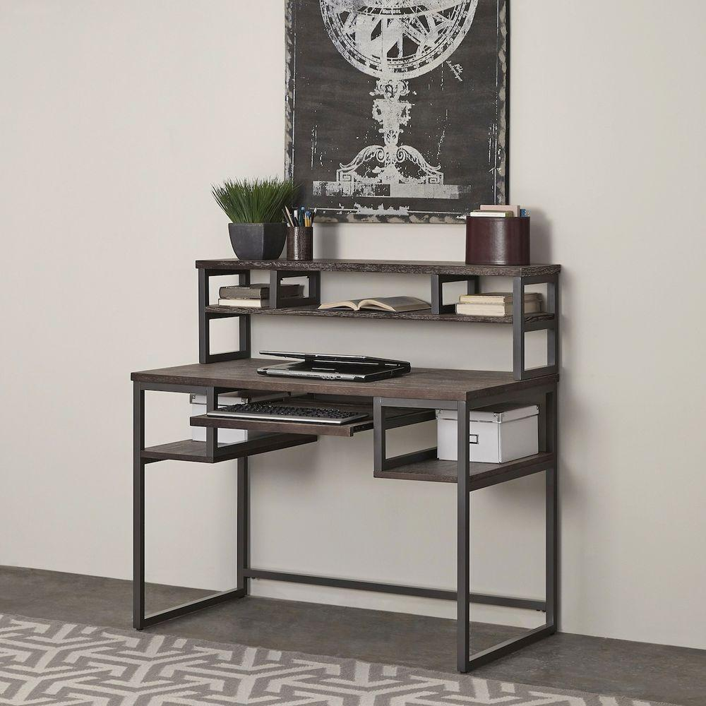 Home Styles Barnside Metro Student Desk and Hutch in Gray-5053-162 -