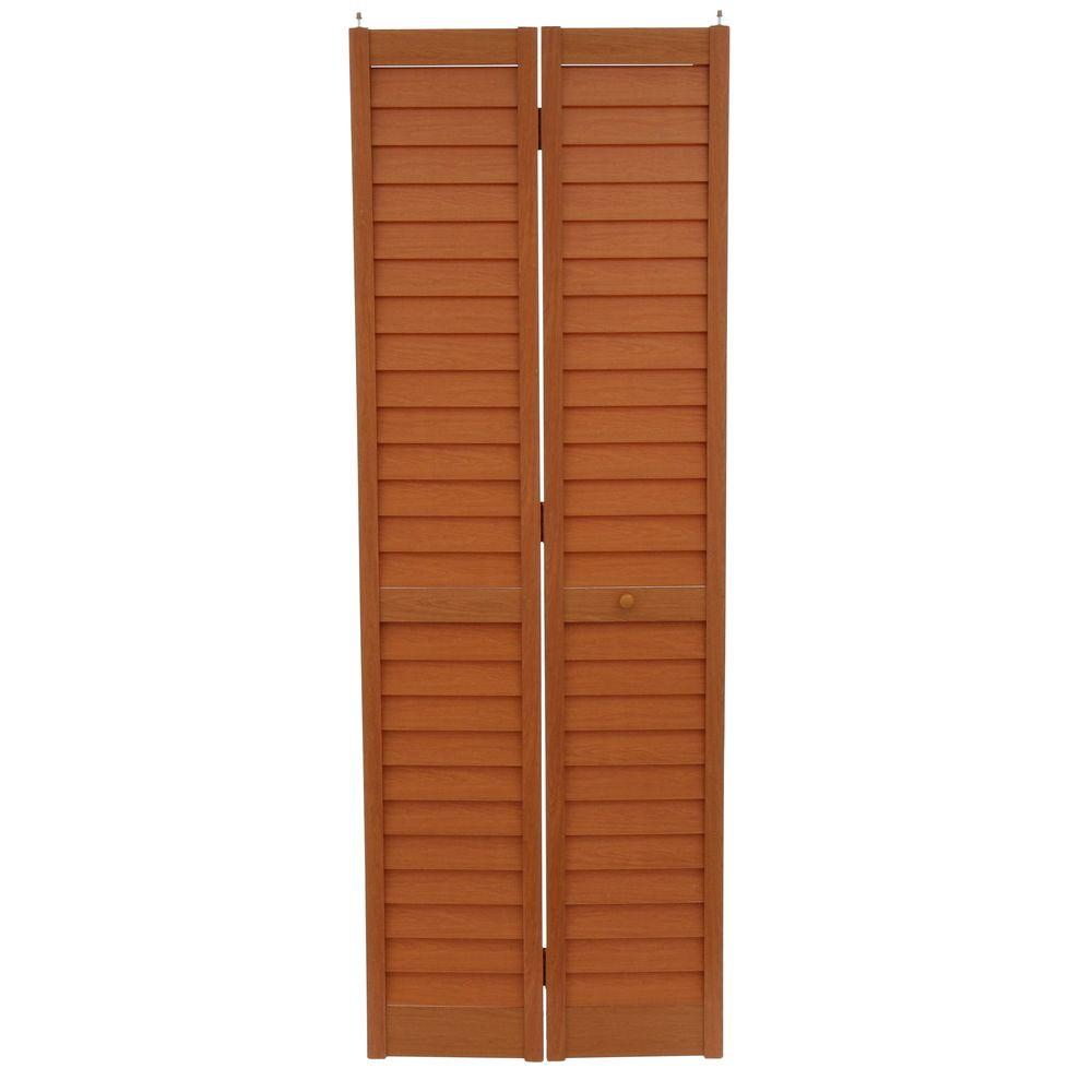 28 in. x 80 in. 3 in. Louver/Louver Golden Oak Composite