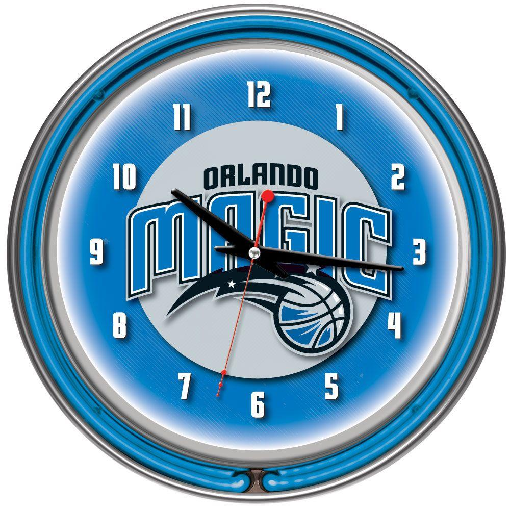 14 in. Orlando Magic NBA Chrome Double Ring Neon Wall Clock