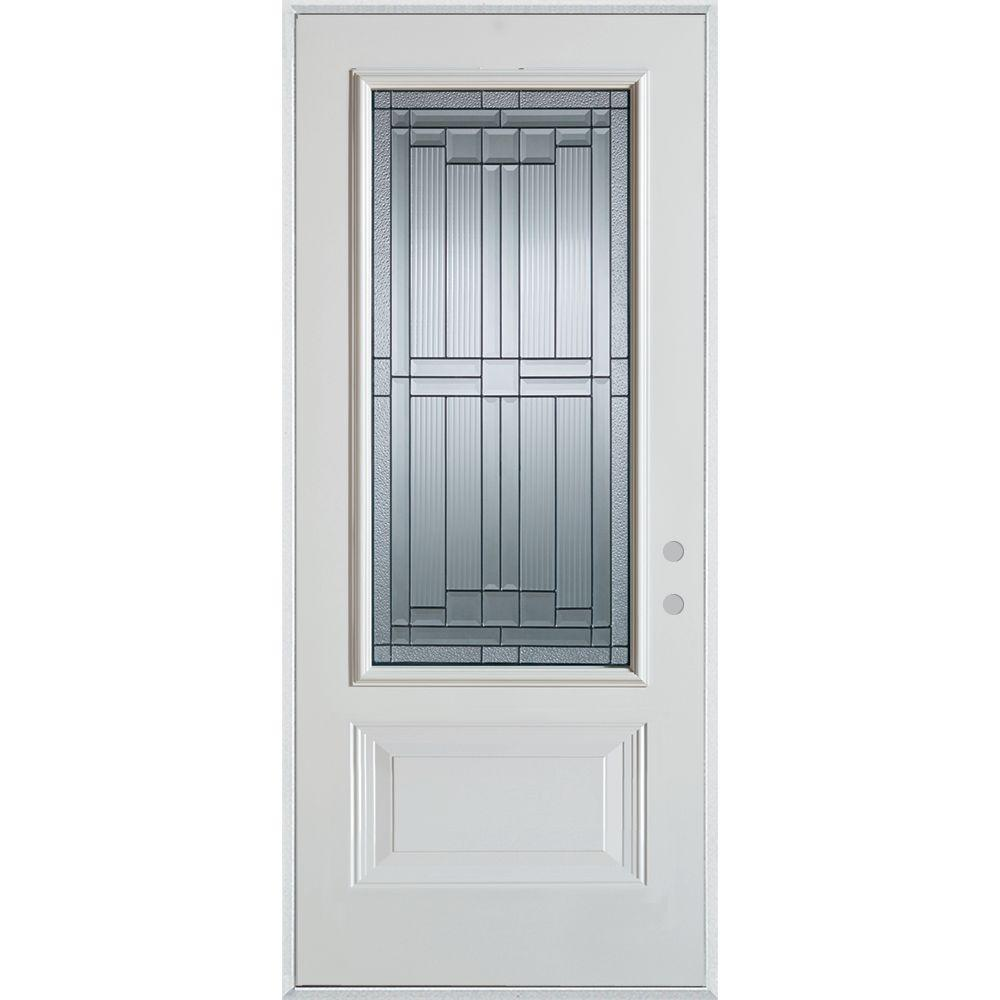 Stanley Doors 32 in. x 80 in. Architectural 3/4 Lite 1-Panel Painted White Steel Prehung Front Door, Prefinished White/Patina Glass Caming