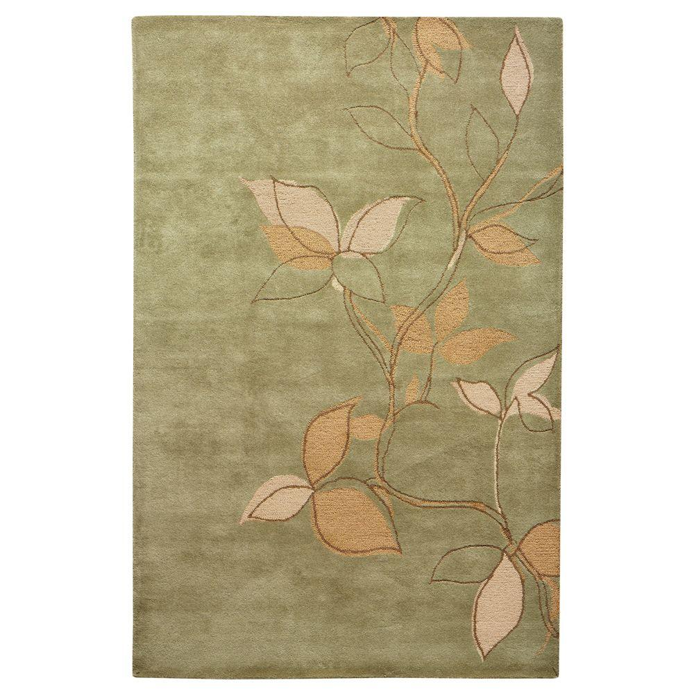Home Decorators Collection Leaves Sage 9 ft. 6 in. x 13 ft. 9 in. Area Rug