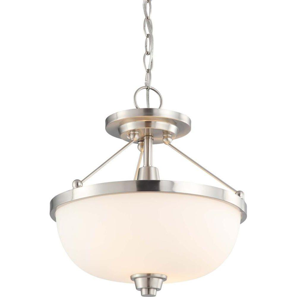 2-Light Brushed Nickel Semi-Flushmount Fixture with Satin White Glass