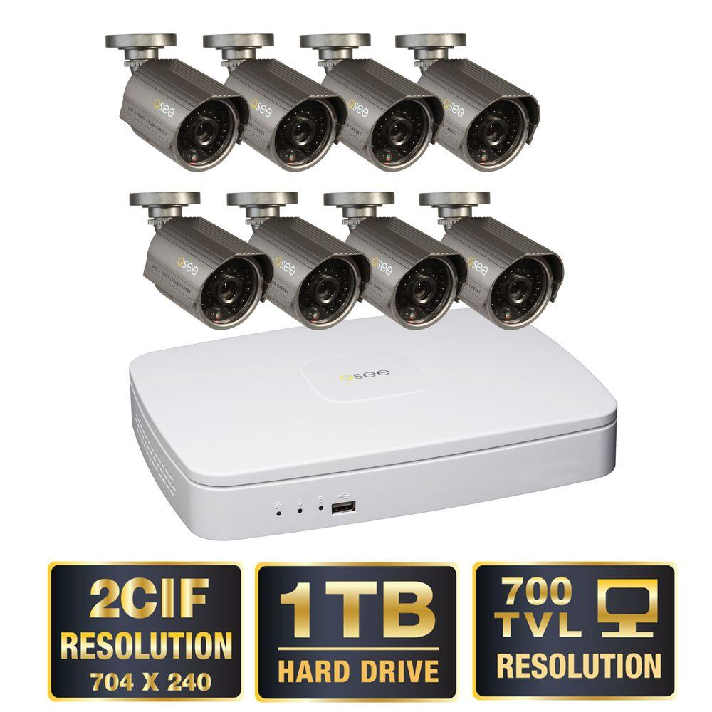 Q-SEE Premium Series 8-Channel 2CIF 1TB Video Surveillance System (8) Hi-Res 700 TVL Cameras 100 ft. Night Vision-DISCONTINUED