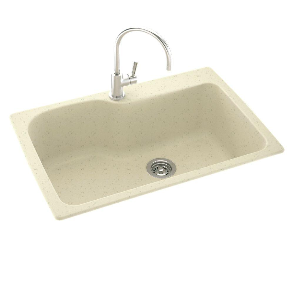 Swan Dual Mount Composite 33x22x10.5 in. 1-Hole Single Bowl Kitchen Sink