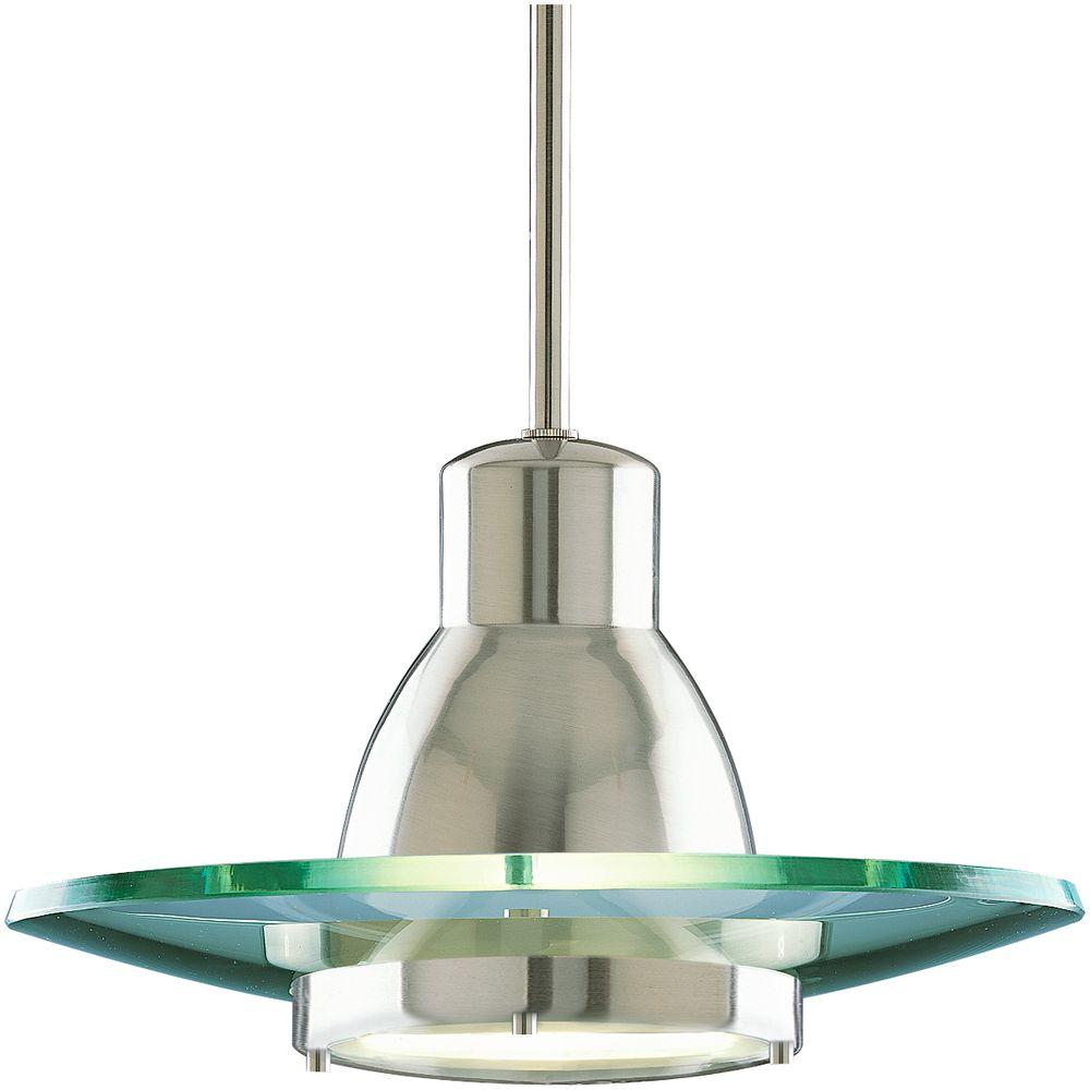 Progress Lighting 1-Light Brushed Nickel Mini Pendant-P5003-09 - The Home Depot