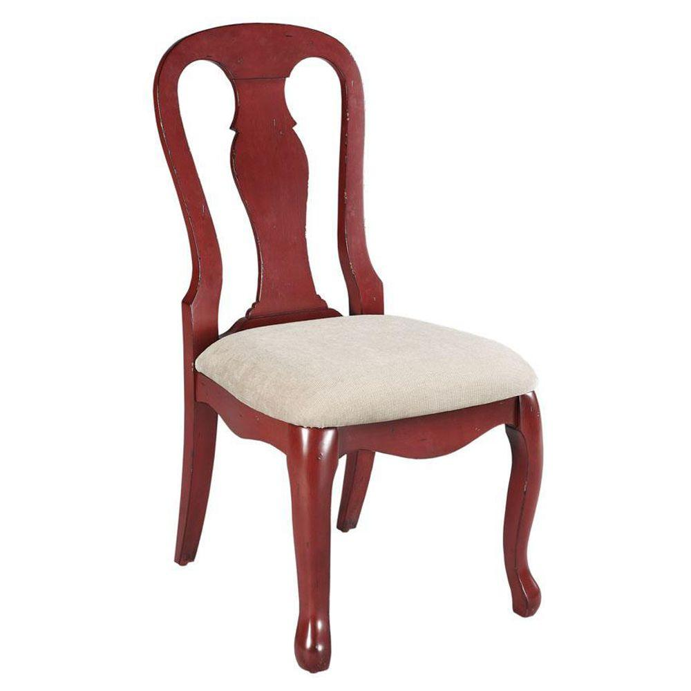 Home Decorators Collection Sheffield Linen Seat Side Chair in Antique Red