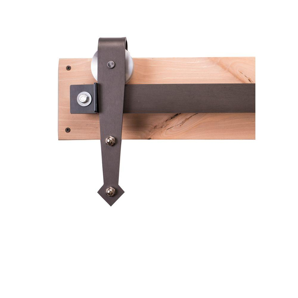 Rustica hardware 84 in raw steel sliding barn door hardware kit with arrow hangers and - Barn door track hardware home depot ...