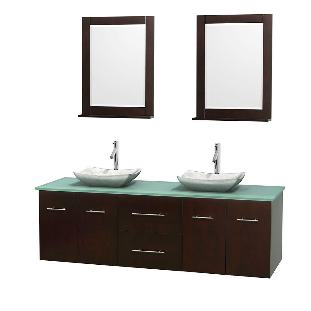 Wyndham Collection Centra 72 in. Double Vanity in Espresso with Glass