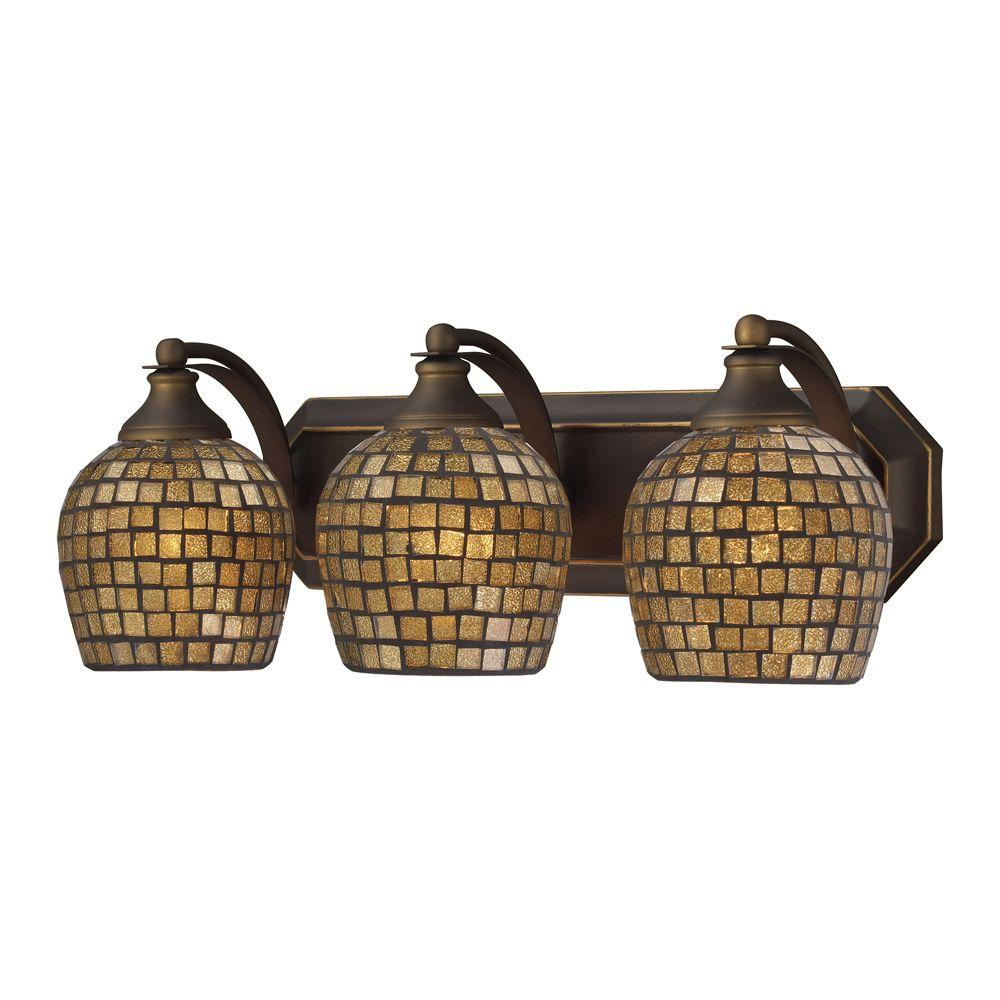 3-Light Aged Bronze Vanity Light with Gold Mosaic Glass