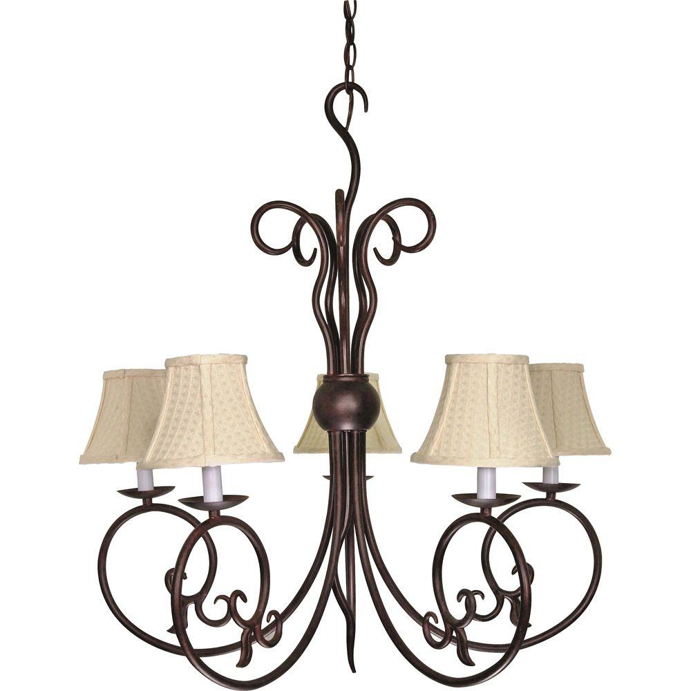Glomar 5-Light Old Bronze Incandescent Ceiling Chandelier-HD-040 - The Home