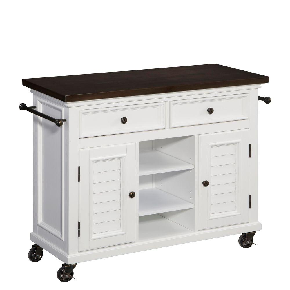 Home Styles 44.5 in. W Antique Stainless Top Kitchen Cart