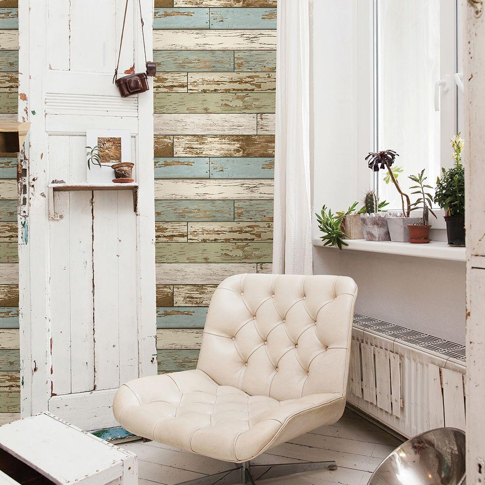 Sky Blue Scrap Wood Weathered Texture Wallpaper