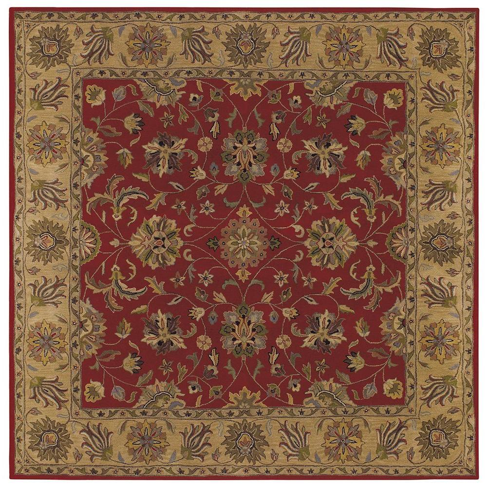 LR Resources Shapes Red/Gold 9 ft. x 9 ft. Traditional Indoor Square Area Rug