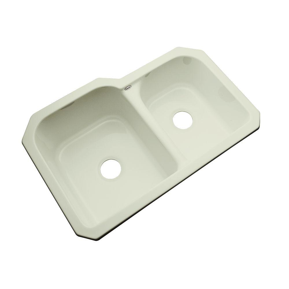 Thermocast Cambridge Undermount Acrylic 33 in. 0-Hole Double Bowl Kitchen Sink