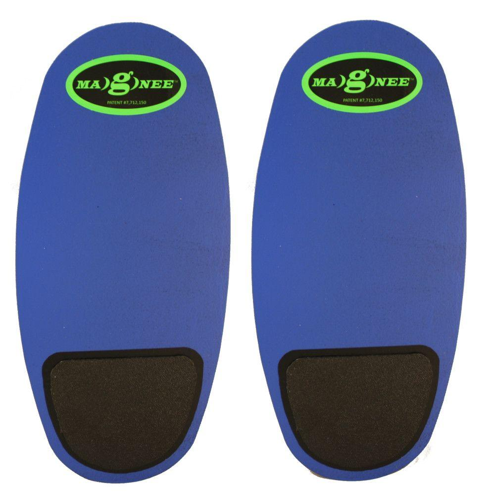 Blue Strapless Magnetic Attaching Knee Pads with Industrial Caps