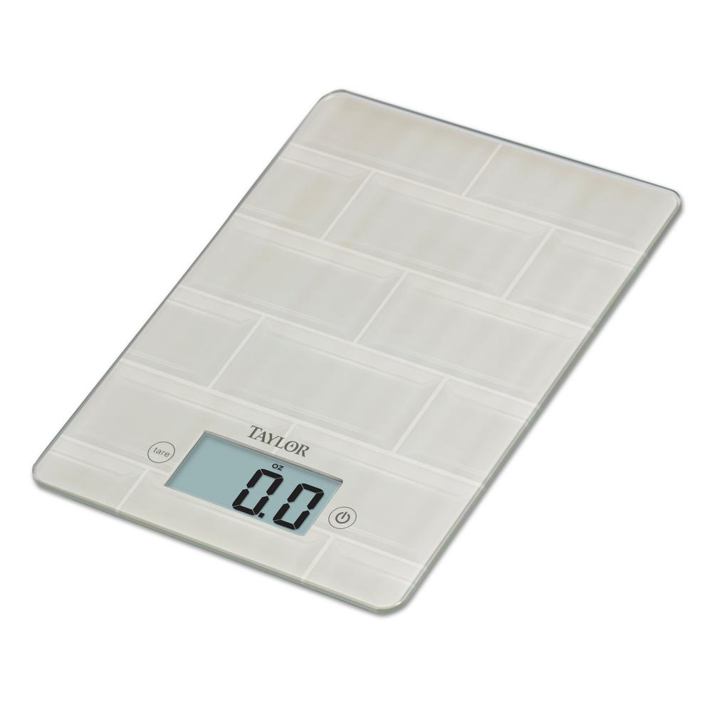 Taylor Digital Kitchen Scale with Glass in White Subway Tile ...
