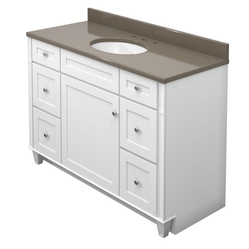 KraftMaid 48 in. Vanity in Dove White with Natural Quartz Vanity Top in Tuscan Grey and White Sink-DISCONTINUED