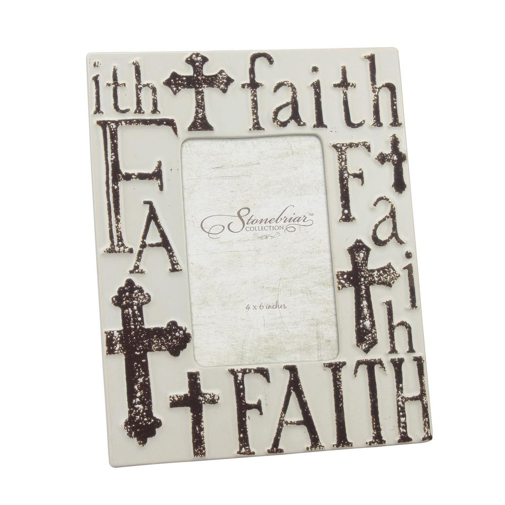 1-Opening 4 in. x 6 in. Worn White Ceramic Faith Picture