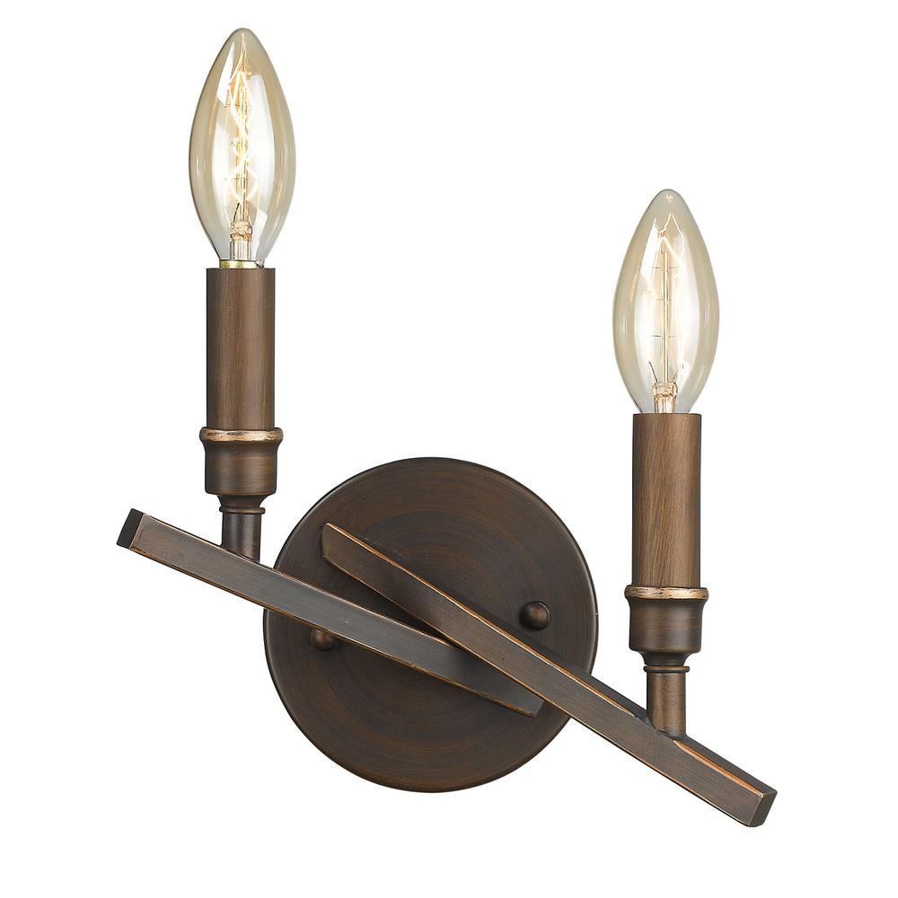 Garvin 2-Light Rubbed Bronze Sconce