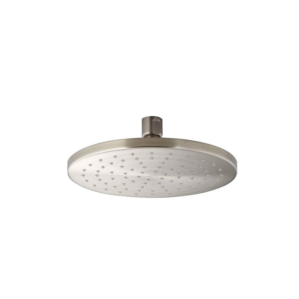 1-spray Single Function 8 in. Contemporary Round Rain Showerhead in Brushed