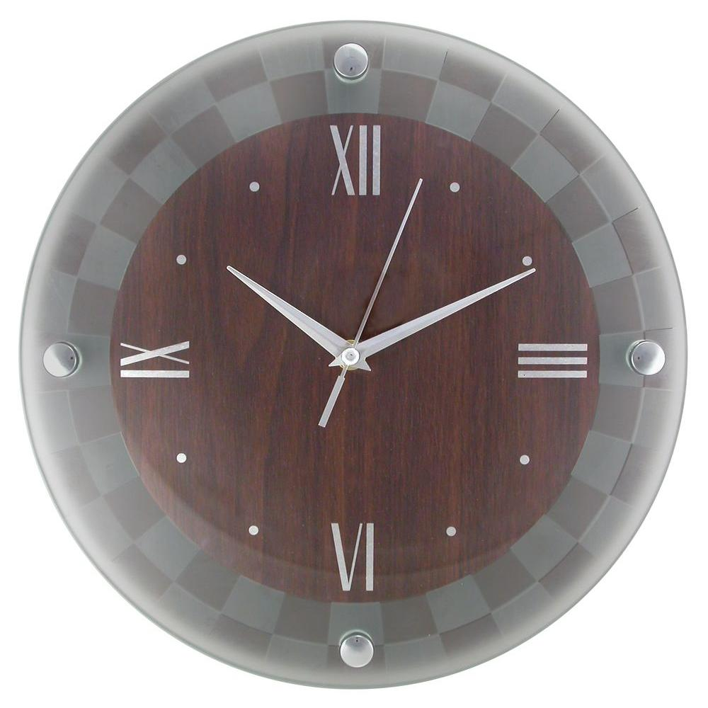 Timekeeper Products 12 in. Round Dark Wood Frosted Glass Outer Cover Silver Numbers Wall Clock