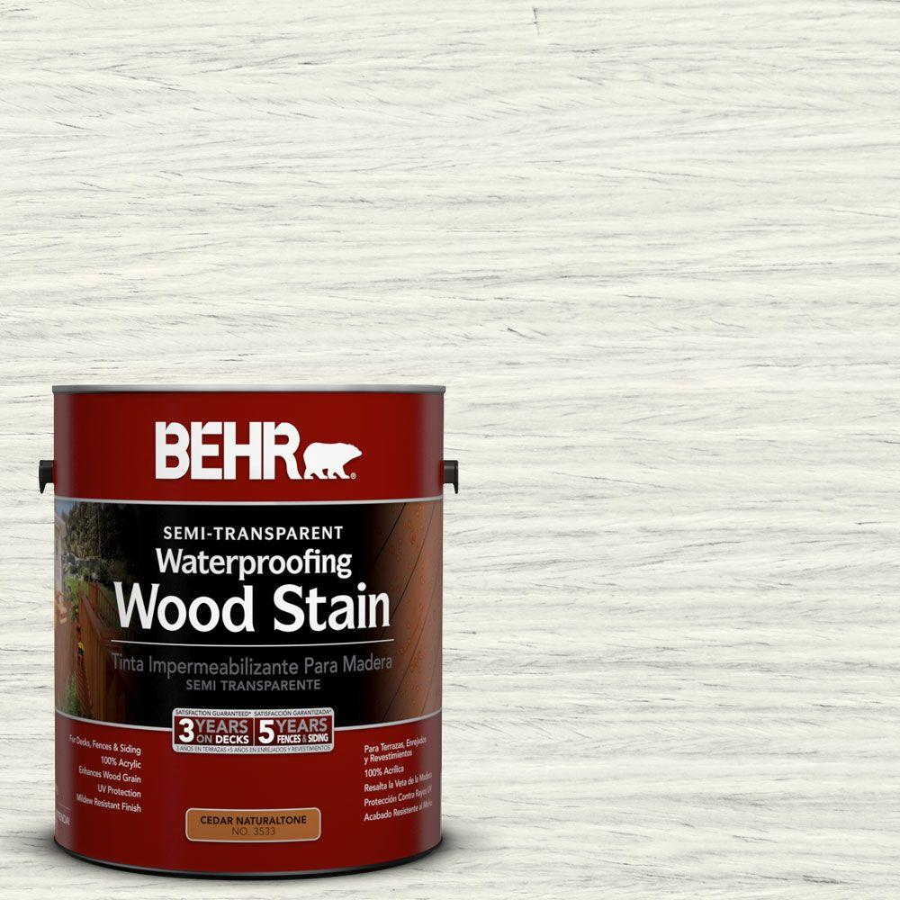 BEHR 1-gal. #ST-337 Pinto White Semi-Transparent Waterproofing Wood Stain
