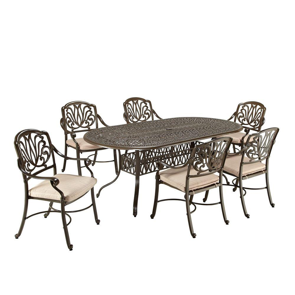 Home Styles Floral Blossom Taupe 7-Piece Patio Dining Set with Beige Cushions