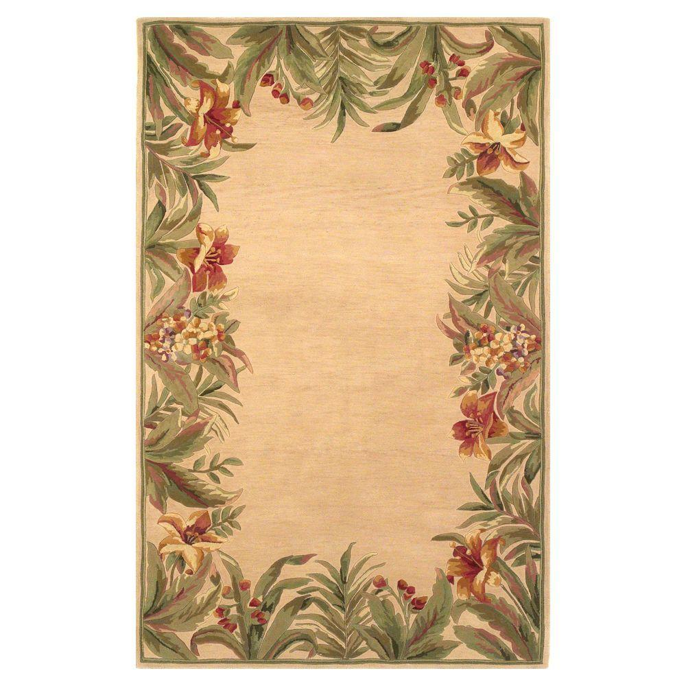 Kas Rugs Border Bouquet Ivory 7 ft. 9 in. x 9 ft. 6 in. Area Rug