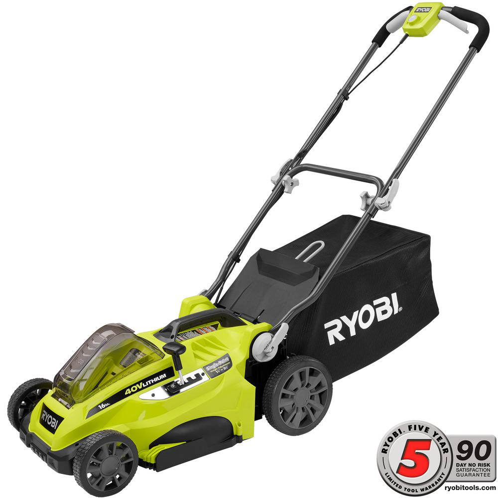 Ryobi 16 in. 40-Volt Lithium-Ion Cordless Walk Behind Battery Push Mower - Battery and Charger Not Included
