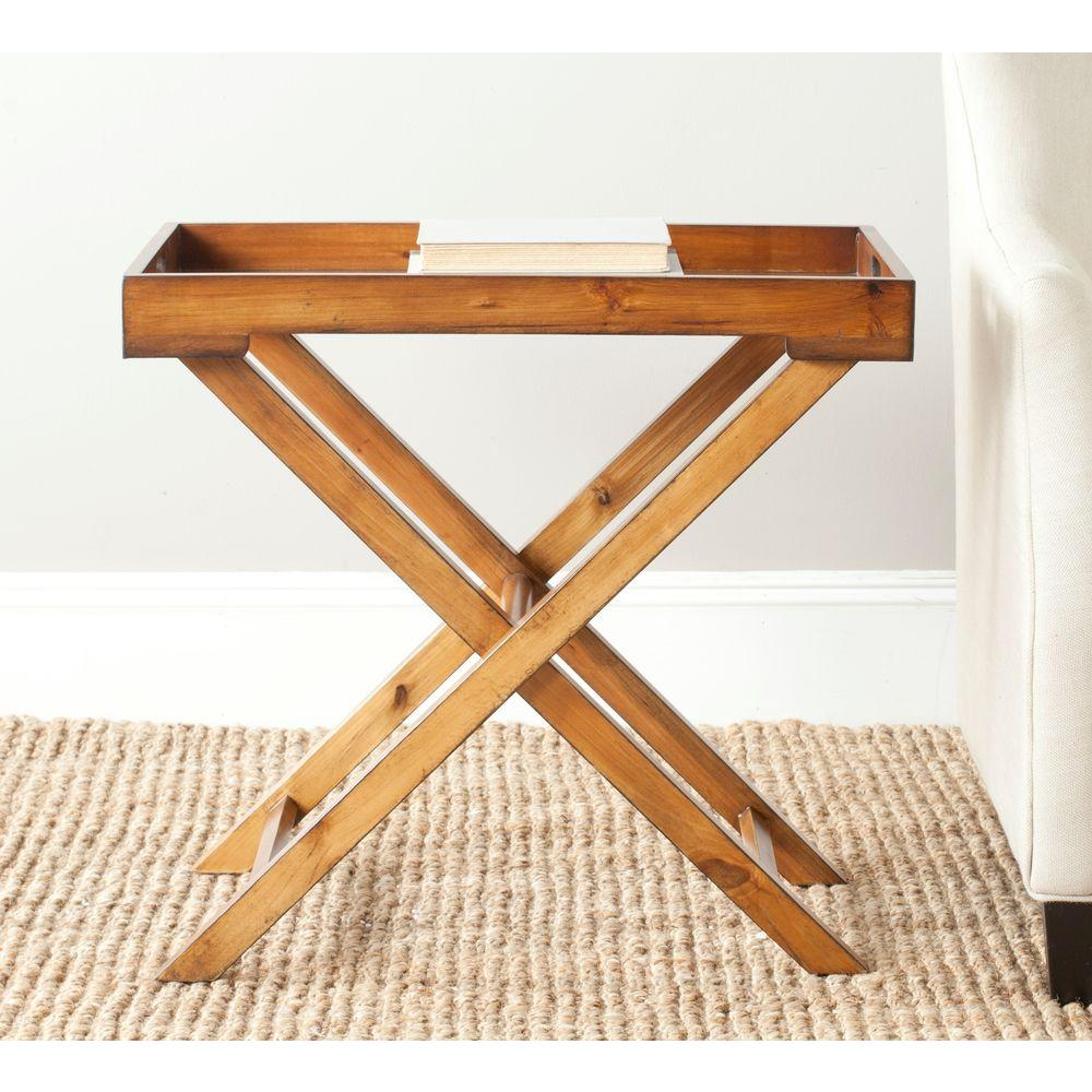 Safavieh Leo Filbert Brown Tray Side Table